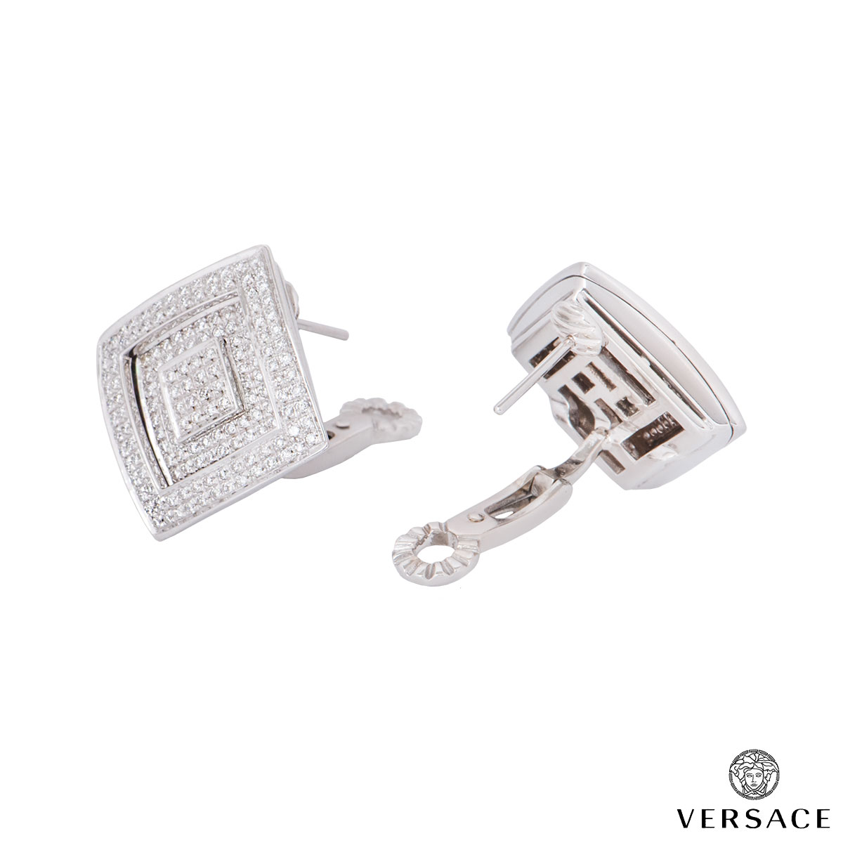 Versace White Gold Diamond Square Earrings
